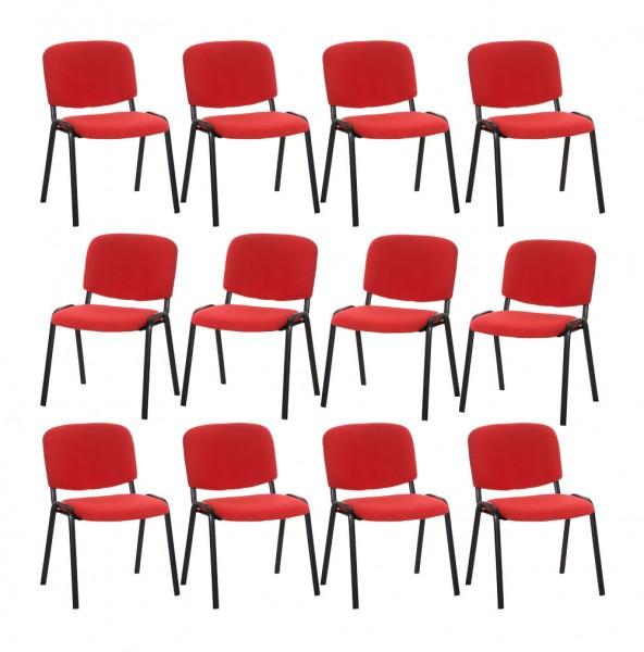 12er Set Besucherstuhl Ken, rot