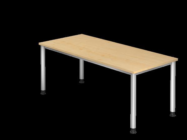 Schreibtisch 4-Fuß rund 180 x 80 cm