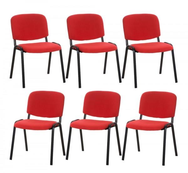 6er Set Besucherstuhl Ken, rot
