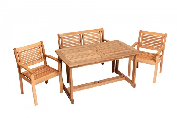 4tlg. Cordoba Set, 2 Cordoba Sessel, 1 Cordoba Bank, 2-sitzig, 1 Tisch