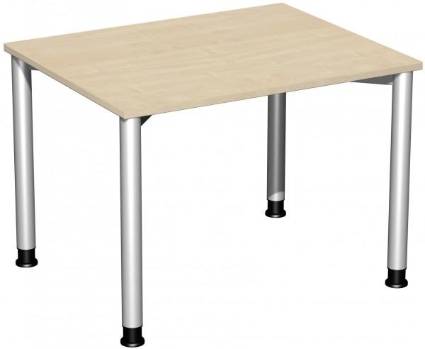 Schreibtisch, höhenverstellbar, 100x80cm, Ahorn / Silber