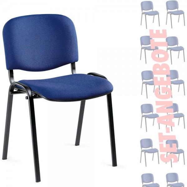 8er Set-Besucherstühle ISO Gestell schwarz, Stoff-blau C6
