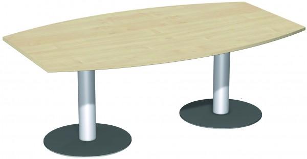 Konferenztisch Tellerfuß Faßform 200 x 80-120 x 72 cm