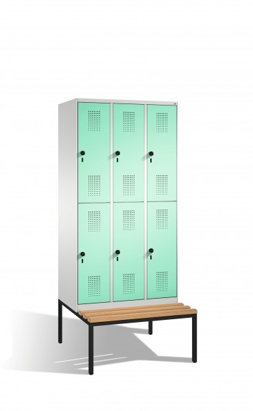 Doppelstockspind Evolo mit Sitzbank, 6 Fächer, 209x90x50/81cm