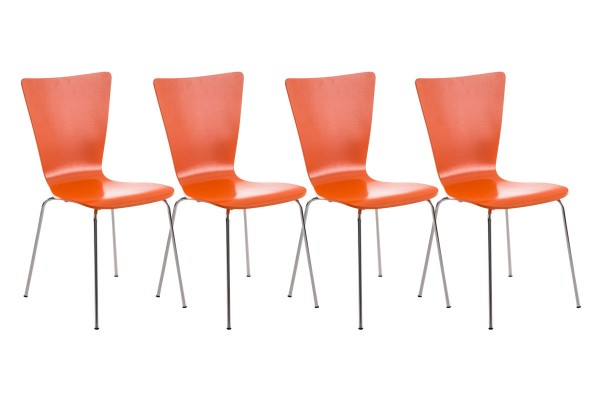 4er Set Besucherstuhl Aaron Orange