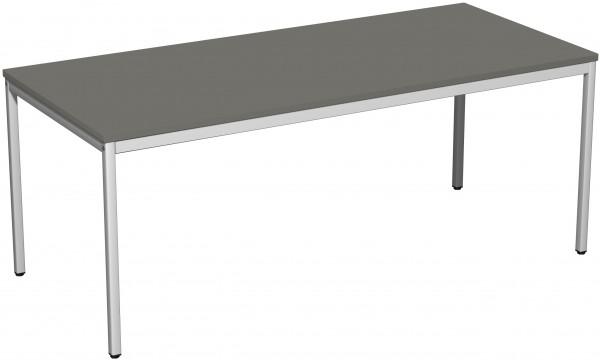 Konferenztisch Viereckfuß, 180x80cm, Graphit / Lichtgrau