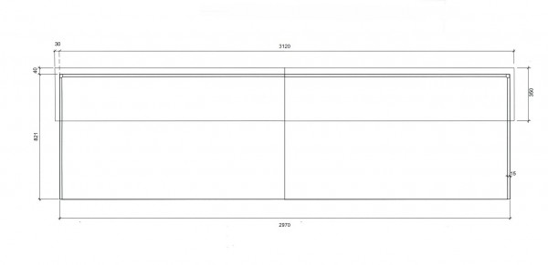 Komplett-Theke Silber / Anthrazit / 297x110x85 cm