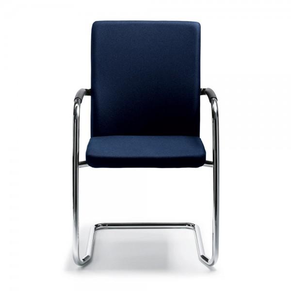 Besucher- und Konferenzstuhl Riva S inkl. Armlehnen Bezug Stoff Deskin 100, dunkelblau