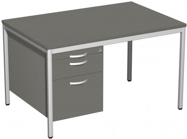 Schreibtisch mit Hängecontainer, 120x80cm, Graphit / Lichtgrau