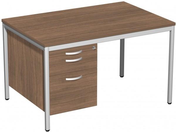 Schreibtisch mit Hängecontainer, 120x80cm, Nussbaum / Lichtgrau