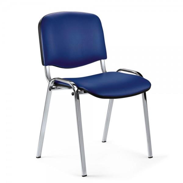 Besucherstuhl ISO Kunstleder Blau / Alusilber