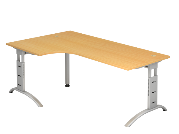 Winkeltisch 90° C-Fuß 200 x 120 cm Buche / Silber