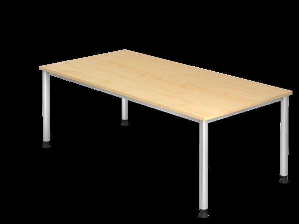 Schreibtisch 4-Fuß rund 200 x 100 cm