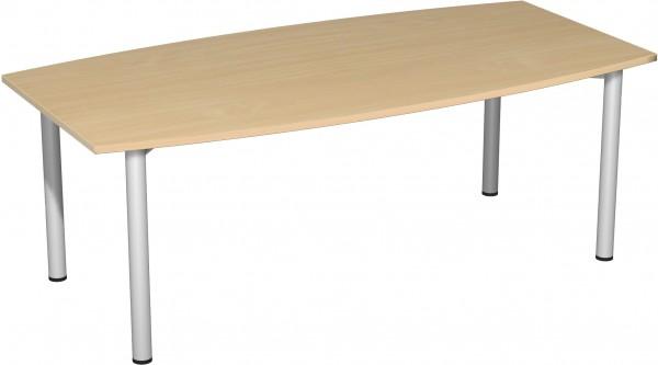 Konferenztisch Rundfuß, Faßform, 200x80-1200cm, Buche / Silber