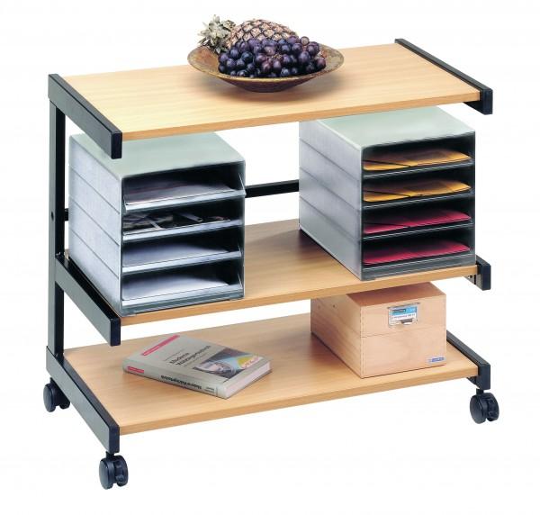 Bürowagen Schwarz / Buche mit 2 Ablageboxen