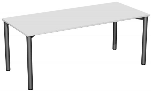 Konferenztisch Rundfuß, 180x80cm, Lichtgrau / Anthrazit