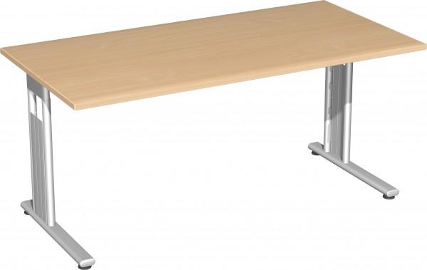 Schreibtisch, 160x80cm, Buche / Silber