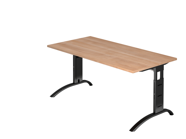 Schreibtisch, C-Fuß, 160x80cm, Nussbaum / Schwarz