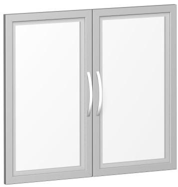 Glastürensatz satiniert im Holzrahmen, für Korpusbreite 80 cm, 2 OH, Silber