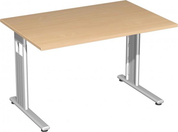 Flex Schreibtisch 120 x 80 cm links und rechts verkettbar Buche / Silber