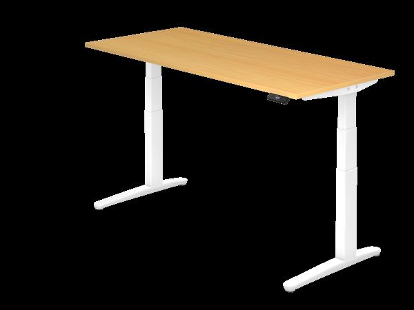 Sitz-Steh-Schreibtisch elektrisch 180 x 80 cm Buche / Weiß