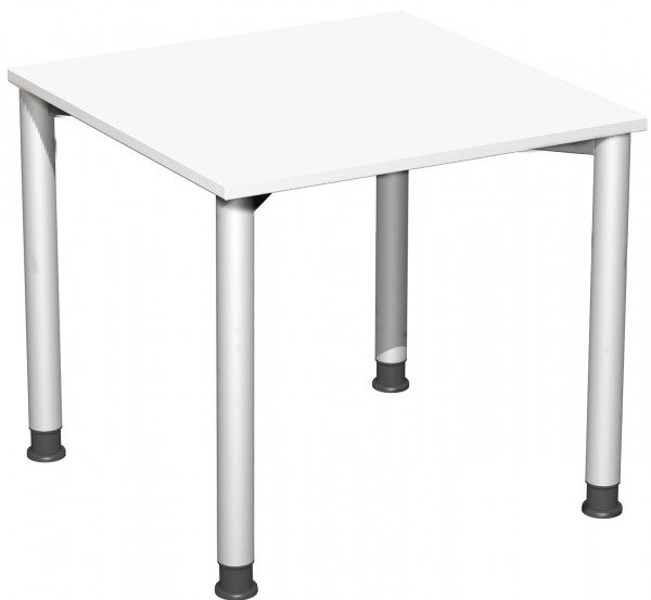 Schreibtisch, höhenverstellbar, 80x80cm, Weiß / Silber