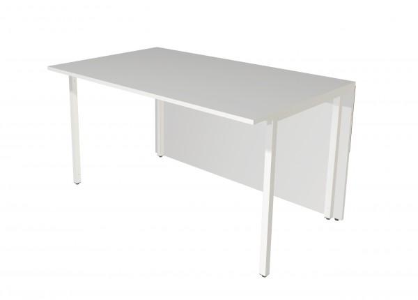 Anbautheke Atlantis, Tisch-Element mit rechteckiger Arbeitsplatte - Weiß / Glas