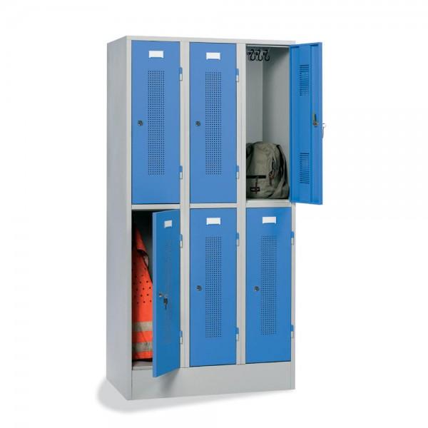 Garderoben-/Schließfachschrank SP1 3 x 2 Abteile, Zylinderschloss