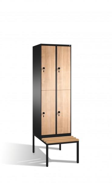 Doppelstockspind Evolo mit Sitzbank, 4 Fächer, 209x60x50/81cm