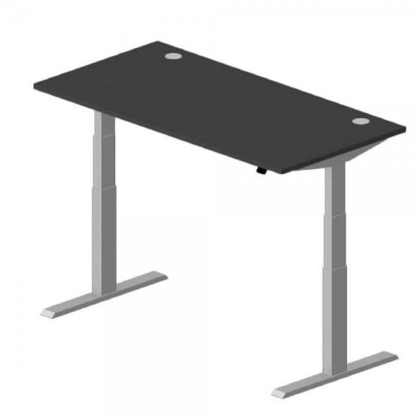 Sitz-/Stehschreibtisch Comfort EVO 180 x 80 x 64-130 cm Anthrazit / Alusilber
