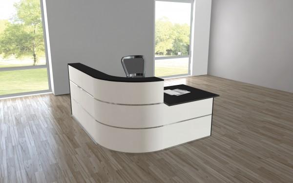 Design Empfangstheke Rezeptionstheke Cento 1,9m Weiß Anthrazit