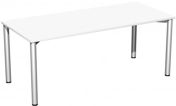 Konferenztisch Rundfuß, 180x80cm, Weiß / Silber