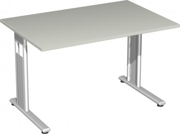 Flex Schreibtisch links oder rechts verkettbar 120 x 80 x 72 cm Lichtgrau / Silber