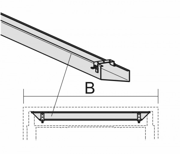 Kabelkanal zur Befestigung an der Tischplatte, 80cm, Silber