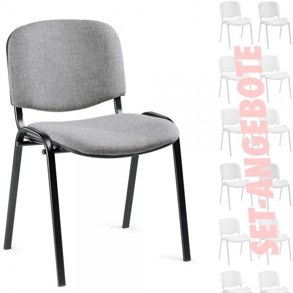 8er Set-Besucherstühle ISO Stoff BASIC grau
