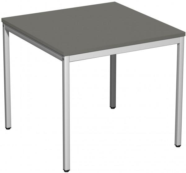 Konferenztisch Viereckfuß, 80x80cm, Graphit / Lichtgrau