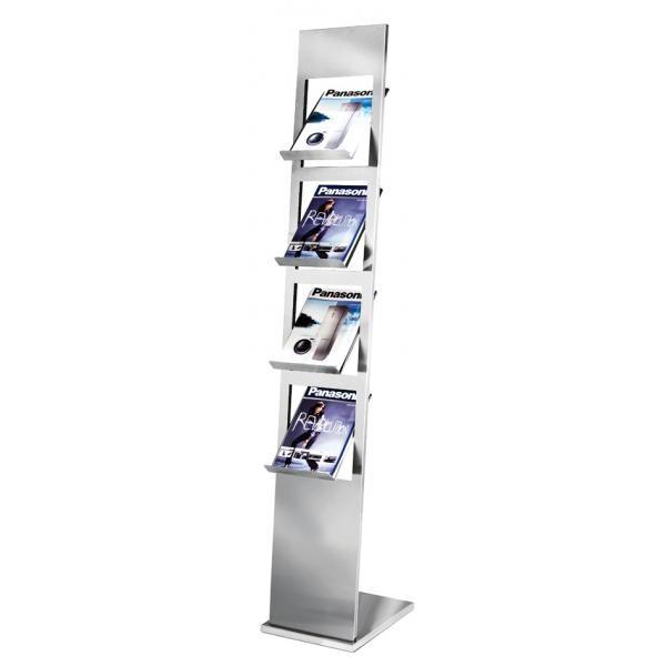 Prospektständer Primus Edelstahl für 4x A4 Prospekte