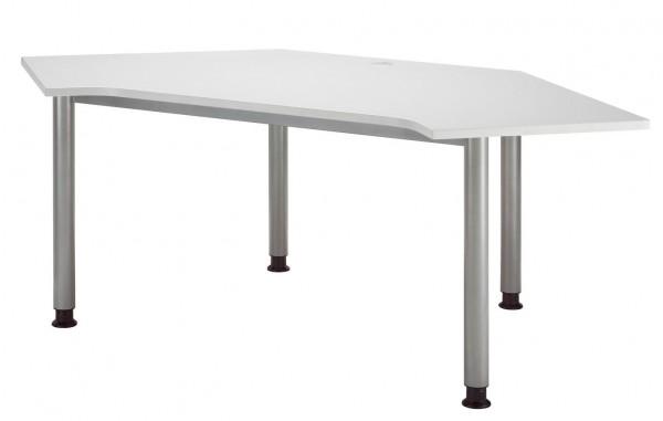 Callcenter Tisch 4-Fuß 193 x 97 cm Grau / Silber