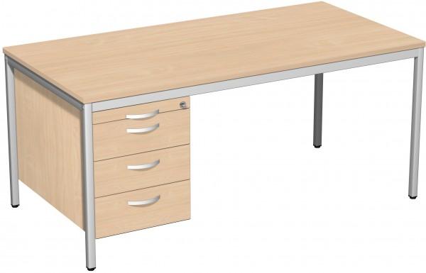 Schreibtisch mit Hängecontainer, 160x80cm, Buche / Lichtgrau