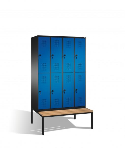 Doppelstockspind Evolo mit Sitzbank, 8 Fächer, 209x120x50/81cm