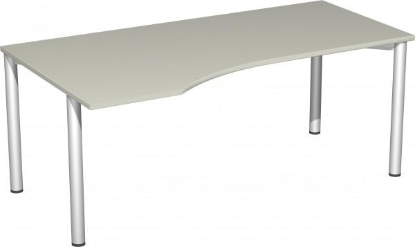 PC-Schreibtisch links 180 x 100 cm Lichtgrau / Silber