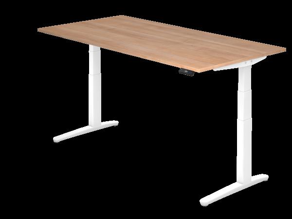 Sitz-Steh-Schreibtisch elektrisch 200 x 100 cm Nussbaum / Weiß