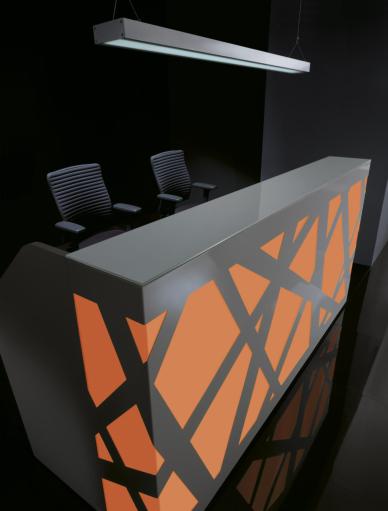 Empfangstheke Rezeption Anmeldung ZIG-ZAG, LED + Farbwechsel, 2,2m