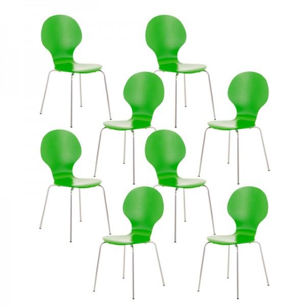 8er Set Besucherstuhl Diego, grün