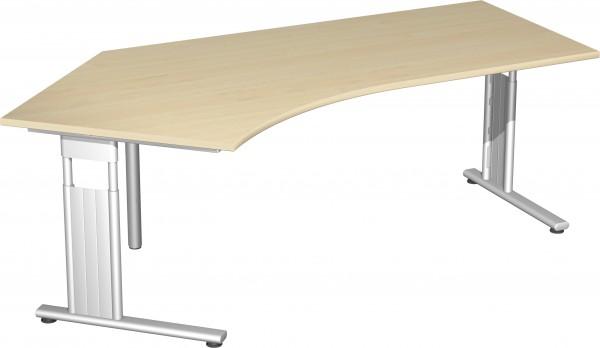 Schreibtisch 135° links höhenverstellbar verkettbar 216 x 113 cm Ahorn / Silber