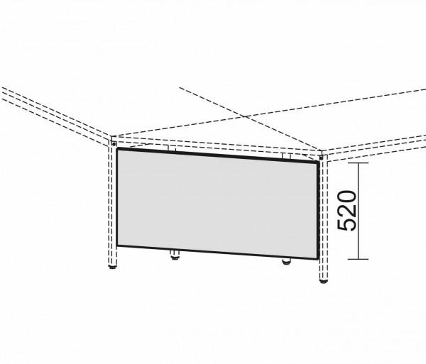 Knieraumblende mit Montage-Set, für 90° Verkettungsplatten, Nussbaum