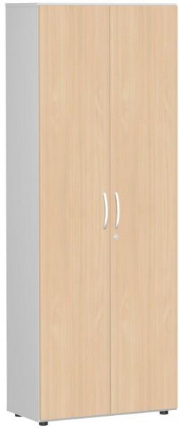 Garderobenschrank mit ausziehbarem Garderobenhalter, 80x42x216cm, Buche Lichtgrau