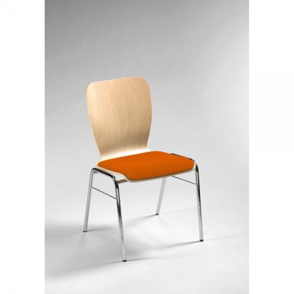 Besucherstuhl JARA Sitzpolster Stoff Orange / Verchromt