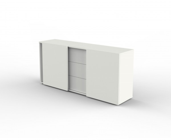 Sideboard mit 2 Schiebetüren, 2 OH, 160x50x80cm, Weiß