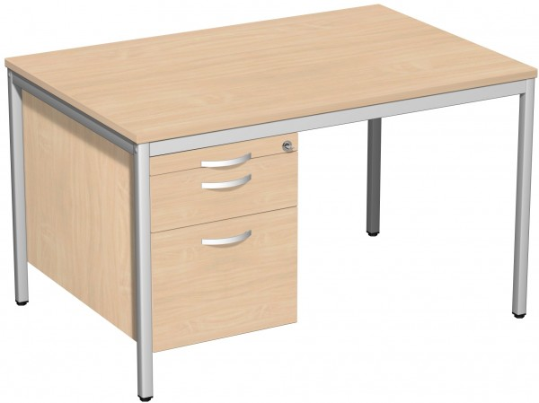 Schreibtisch mit Hängecontainer, 120x80cm, Buche / Lichtgrau
